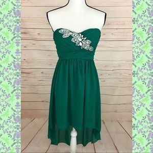 City Triangles Green Strapless High Low Dress